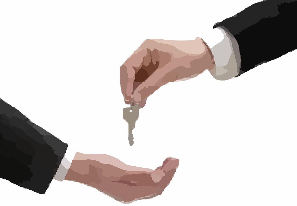 one hand gives a key to the other