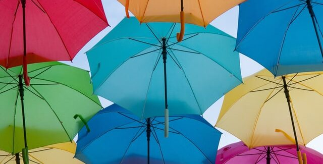 open umbrellas floating in the air