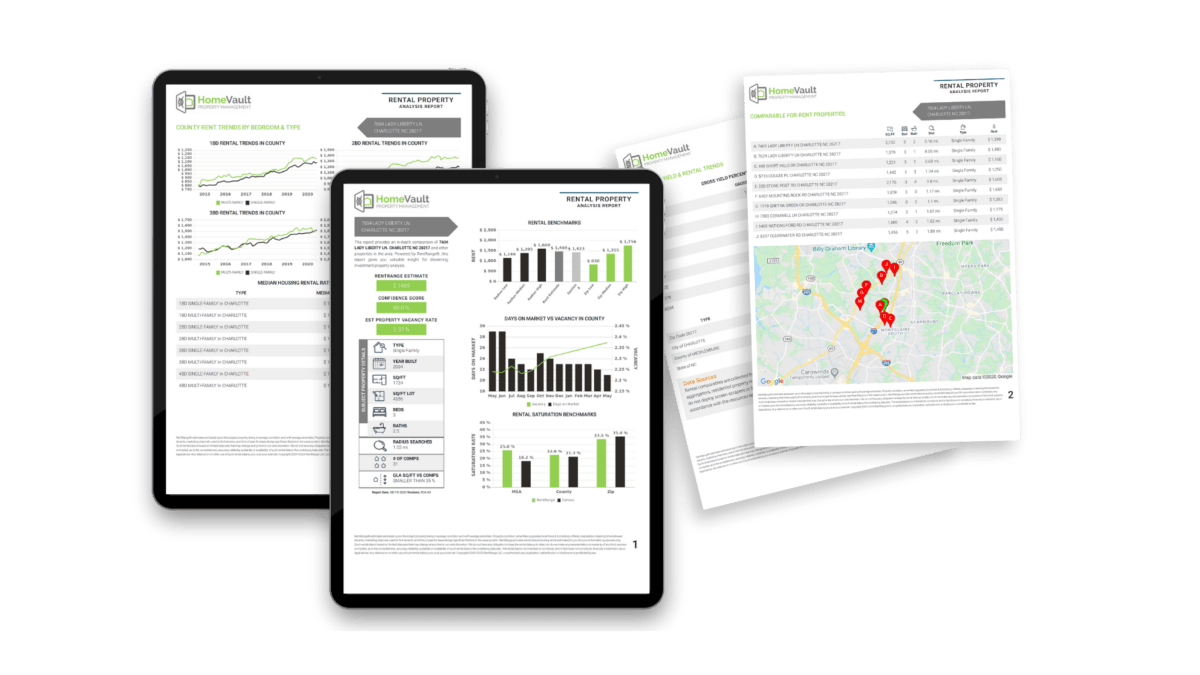 An illustration of HomeVault's free rental analysis report
